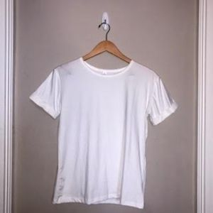 Basic White Tee with Cuffed Sleeves
